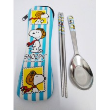 Snoopy/Peanuts stainless steel spoon chopsticks w/storage bag-blue/pilot