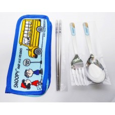 Snoopy/Peanuts chopsticks+spoon+fork w/storage bag-blue