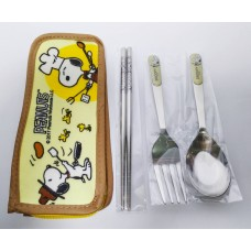 Snoopy/Peanuts chopsticks+spoon+fork w/storage bag-yellow
