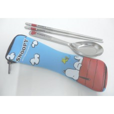 Snoopy/Peanuts & woodstock chopsticks+spoon set w/bag
