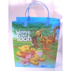Winnie the pooh plastic gift hand bag-blue