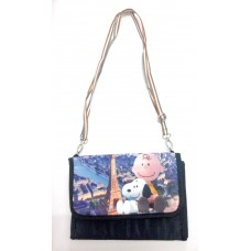 Snoopy/Peanuts shoulder/makeup/cosmetic bag-black