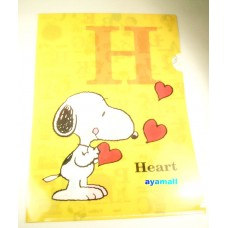Japan Snoopy/Peanuts A4 clean file/folder-heart/yellow